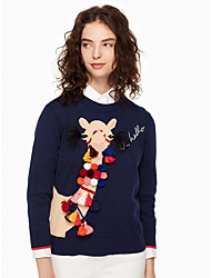 Недорогие -Жен. Классический Длинный рукав Пуловер - Животное Вырез под горло