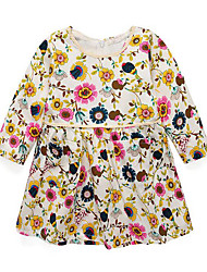 cheap -Girl's Daily Going out Floral Dress, Rayon Spring Fall Long Sleeves Casual Blue Beige