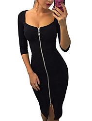 baratos -Mulheres Algodão Skinny Bainha Vestido Sólido Decote em U Profundo Altura dos Joelhos
