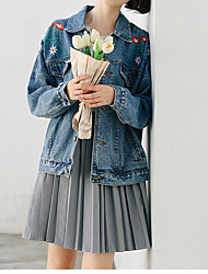 baratos -Mulheres Jaqueta jeans Vintage-Sólido Bordado