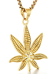 cheap -Men's Cool Leaf Pendant Necklace  -  Casual Fashion Gold Black Silver Necklace For Daily Street