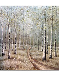 cheap -STYLEDECOR Modern Hand Painted Gray Birch Oil Painting on Canvas for Living Room