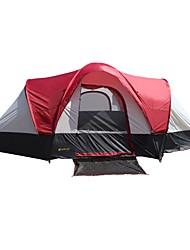 baratos -8 pessoas Barracas de Acampar Leves / Barraca de Acampamento Familiar Dupla Camada Poste Dome Barraca de acampamento Dois Quartos Ao ar livre Á Prova-de-Chuva, A Prova de Vento para Campismo