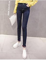 baratos -Mulheres Algodão Delgado Jeans Calças - Sólido Bordado