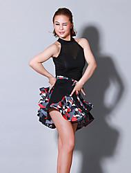 baratos -Dança Latina Vestidos Mulheres Treino Espetáculo Náilon Chinês Estampa Combinação Sem Manga Natural Vestido