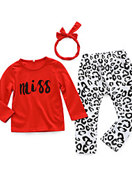 cheap -Baby Girls' Daily Leopard Clothing Set, Cotton Spring Simple Long Sleeves Red