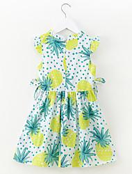 abordables -Robe Fille de Quotidien Vacances Couleur Pleine Imprimé Coton Polyester Printemps Eté Manches Courtes simple Actif Vert