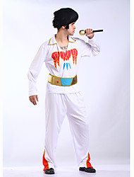 abordables -Elvis Années 60 Costume Homme Bal Masqué Blanc Vintage Cosplay Polyester Manches Longues Cloche Culottes
