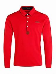 baratos -Homens Camiseta Temática Asiática Sólido Algodão Colarinho de Camisa