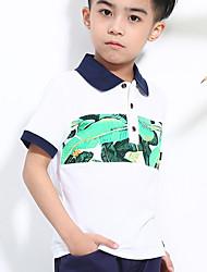 preiswerte -Jungen Hemd Alltag Schultaschen Geometrisch Druck Baumwolle Sommer Kurzarm Freizeit Aktiv Weiß