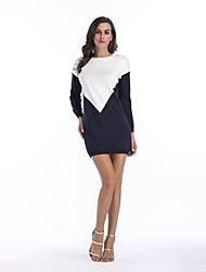 baratos -Mulheres Básico Algodão Tricô Vestido Estampa Colorida Mini