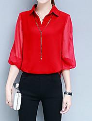 baratos -Mulheres Negócio Moda de Rua Blusa - Sólido Decote V Colarinho de Camisa