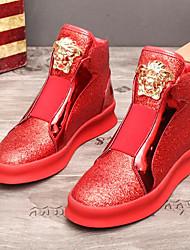 Недорогие -Муж. обувь Кожа Зима Ботильоны Ботинки Ботинки Пайетки для Повседневные Золотой Черный Красный