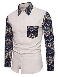 cheap -Men's Daily Simple Spring Fall Shirt Shirt Collar Long Sleeves Cotton Linen