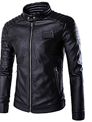 cheap -Men's Punk & Gothic Leather Jacket - Solid Colored Stand