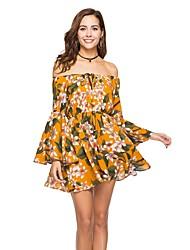 cheap -Women's Beach Basic Boho Flare Sleeve Loose A Line Dress - Floral, Cut Out High Waist Off Shoulder Boat Neck