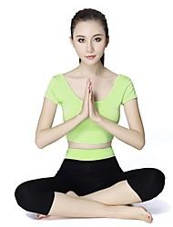 economico -Per donna Girocollo Abbigliamento per yoga - Lilla, Verde Chiaro, Borgogna Gli sport Set di vestiti Manica corta Abbigliamento sportivo