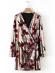 abordables -Femme Ample Ample Robe - Paillettes, Géométrique Col en V