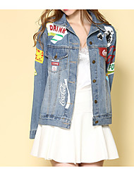 cheap -Women's Cute Denim Jacket-Solid Colored Shirt Collar