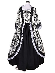 abordables -Victorien Rococo Costume Femme Adulte Robes Noir + blanc Vintage Cosplay Floqué Manches 3/4 Gigot / Ballon