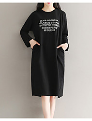 cheap -Women's Basic Butterfly Sleeves Cotton Little Black Dress - Letter Ruched