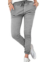 cheap -Women's Street chic Cotton Slim Chinos Pants - Solid Colored Ruched High Waist
