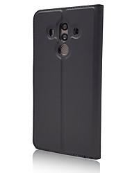 Недорогие -Кейс для Назначение Huawei Mate 10 pro Бумажник для карт со стендом Чехол Сплошной цвет Твердый Кожа PU для Mate 10 pro
