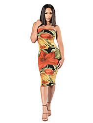 cheap -Women's Club Basic Street chic Loose Bodycon Sheath Dress - Floral High Waist Strapless
