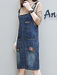 abordables -Femme Grandes Tailles Basique Coton Toile de jean Robe Couleur unie Taille haute A Bretelles Mi-long