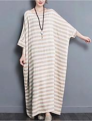 cheap -Women's Cotton Loose Dress - Striped Basic Maxi