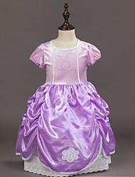 abordables -Robe Fille de Soirée Sortie Fleur Coton Polyester Printemps Eté Manches Courtes Mignon Actif Violet