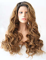 cheap -Synthetic Lace Front Wig Wavy Layered Haircut Synthetic Hair Heat Resistant Golden Wig Women's Long Natural Wigs Lace Front Party / / Yes