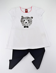 cheap -Girls' Daily Animal Print Clothing Set, Cotton Summer Short Sleeves Casual White