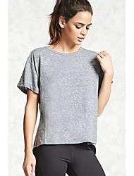 preiswerte -Damen Solide Klub Baumwolle T-shirt Rückenfrei
