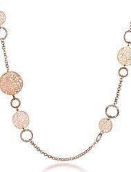 baratos -Mulheres Formato Circular Árvore da Vida Forma Casual Básico Fashion Colares em Corrente Gema Prata Chapeada Chapeado Dourado Rosa
