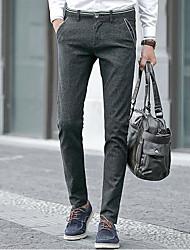 economico -pantaloni chino anelastici normali da uomo di media altezza, semplice molla in poliestere
