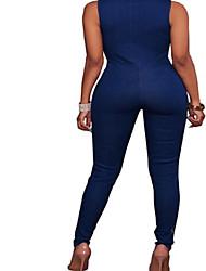 cheap -Women's Plus Size Denim Jumpsuit - Solid, Lace up V Neck