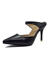 preiswerte -Damen Schuhe PU Frühling Sommer T-Riemen High Heels Stöckelabsatz Spitze Zehe für Normal Büro & Karriere Weiß Schwarz Beige Braun