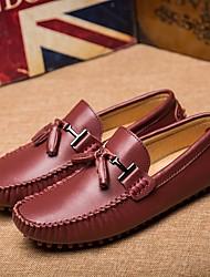 Homens sapatos Pele Primavera Outono Conforto Mocassins e Slip-Ons para Casual Preto Vinho