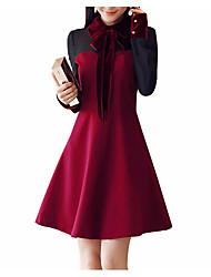 abordables -Femme Mince Trapèze Robe - Basique, Couleur Pleine Col de Chemise