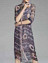 abordables -Femme Basique Chemise Robe Fleur Col Ras du Cou Midi