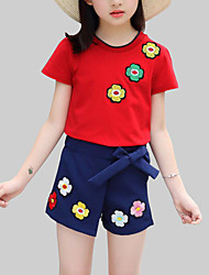 cheap -Girls' Daily Floral Clothing Set, Rayon Polyester Summer Short Sleeves Cute Casual White Red Yellow