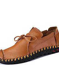 Недорогие -Муж. обувь Дерматин Кожа Весна Лето Удобная обувь Туфли на шнуровке для Повседневные Белый Черный Желтый Коричневый Синий