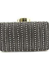 preiswerte -Damen Taschen PU Abendtasche Perlenstickerei Blumenmuster Black Grey