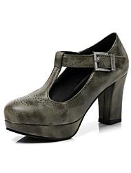 Недорогие -Жен. Обувь Полиуретан Весна Осень Оригинальная обувь Удобная обувь На плокой подошве На толстом каблуке Круглый носок Пряжки для Офис и