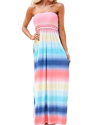 cheap -Women's Cotton Slim Sheath Dress - Color Block Basic Maxi Strapless / Spring