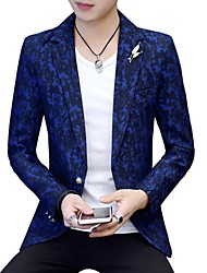 cheap -Men's Active Slim Blazer-Print Color Block,Print Notch Lapel