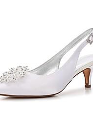 cheap -Women's Shoes Satin Spring / Summer Comfort / Basic Pump Wedding Shoes Kitten Heel Pointed Toe Rhinestone / Bowknot / Sparkling Glitter