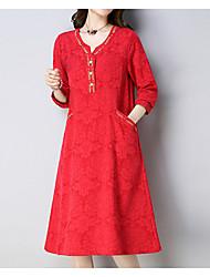 Недорогие -Жен. Классический Оболочка Платье - Однотонный, Вышивка Средней длины