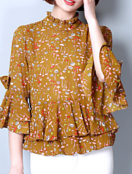 cheap -Women's Going out Cute Loose Blouse - Floral Crew Neck